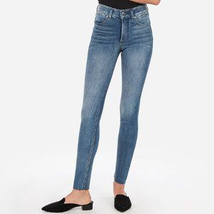 Express High Waisted Raw Hem Ankle Skinny Jeans 4S